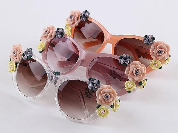 2016 Vintage Shades Women Designer Rose Flowers Sunglasses - May Your Fashion - 11