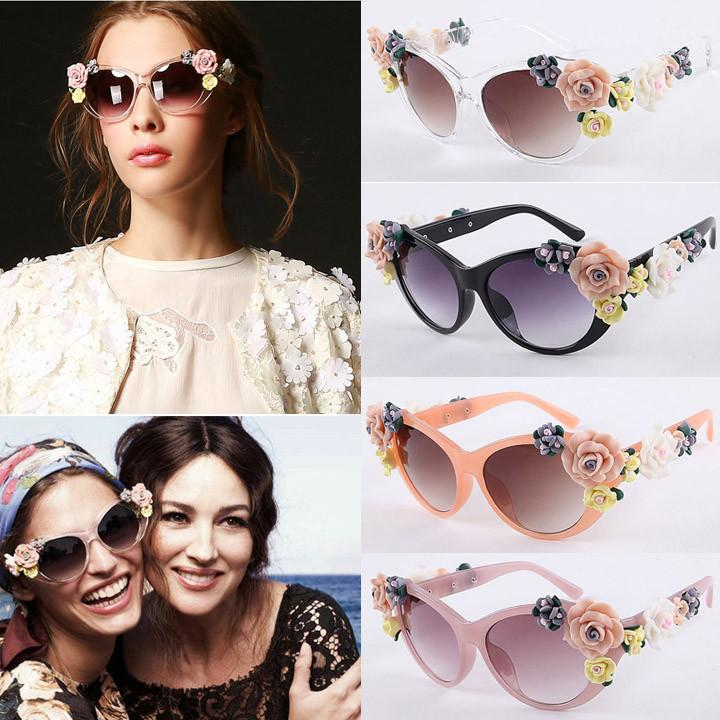 2016 Vintage Shades Women Designer Rose Flowers Sunglasses - May Your Fashion - 1