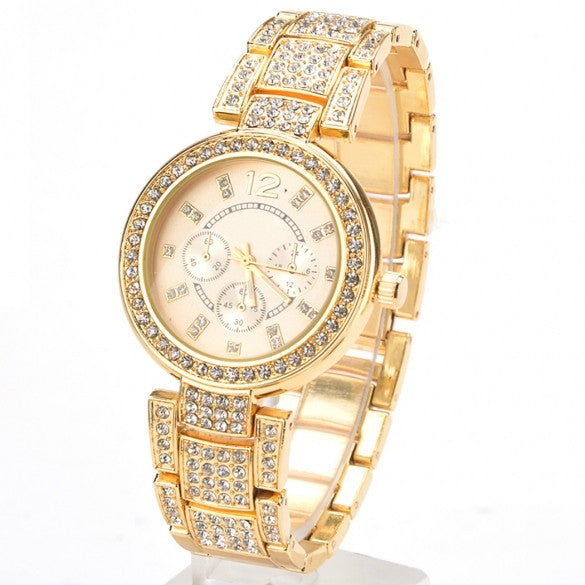 New Gold  Silver Ladies Casual Luxury Dress Of Quartz Crystal Wristwatch Rhinestone Watches