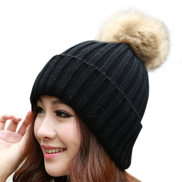 New Women's Knit Cap Beanie Hat With Fur Winter Slouch Elastic