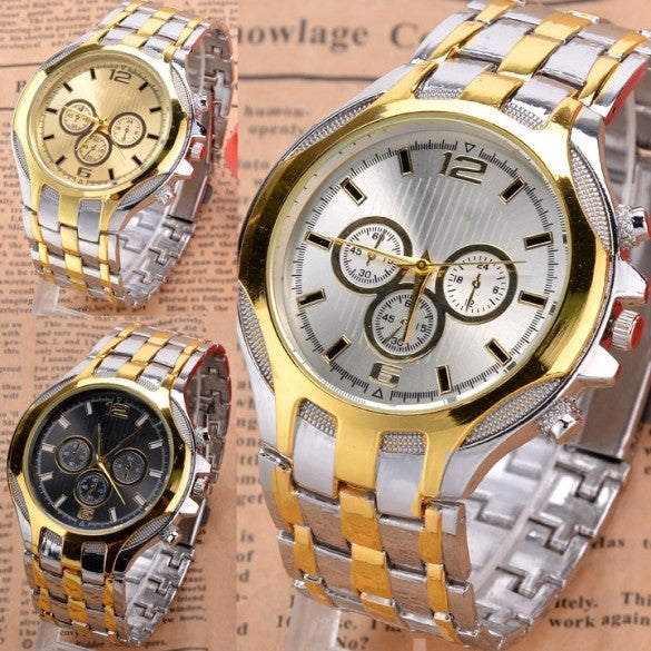 New Men's Fashion Sport Business Stainless Steel Belt Quartz Watch Wristwatches - May Your Fashion - 1