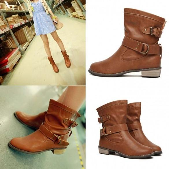 New Women shoes Fashion-Mid-Calf Flat Heel British Driving Short Boots
