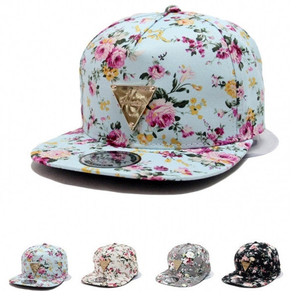 Fashion Floral Flower Snapback Hip-Hop Hat Flat Peaked Adjustable Baseball Cap
