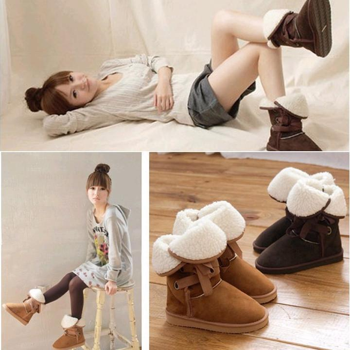 High Quality HOT 5 Colors Winter Faux Fur Snow Boot Man-Made Women Ankle Buckle Biker Boots Shoes Size37-40