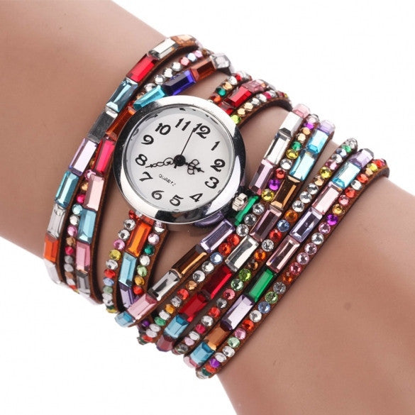 Hot Fashion Women Retro Beads Synthetic Leather Strap Watch Bracelet Wristwatch - May Your Fashion - 1