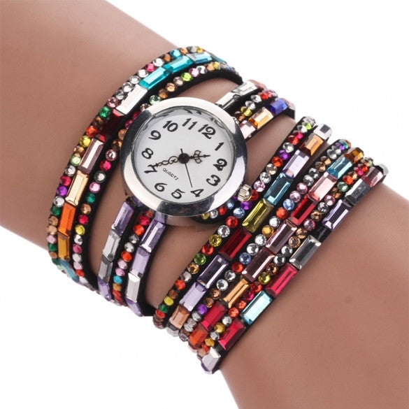 Hot Fashion Women Retro Beads Synthetic Leather Strap Watch Bracelet Wristwatch - May Your Fashion - 2