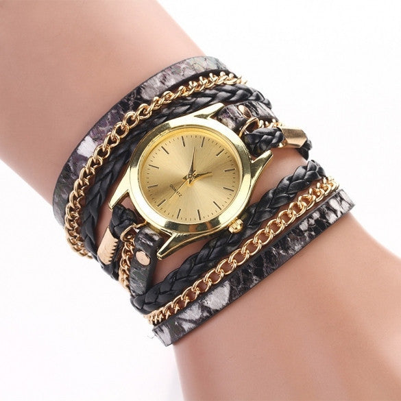 Hot Fashion Women Retro Chains Leopard Synthetic Leather Strap Watch Bracelet Wristwatch - May Your Fashion - 1