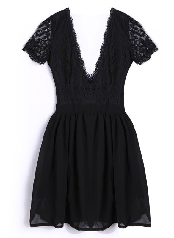 Free Shipping Deep V-neck V-back Backless Lace Little Black Dress
