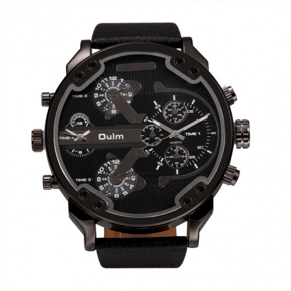 OULM Fashion Oversized Dual Dial Display Time Chronograph PU Leather Band Men's Watch - May Your Fashion - 2