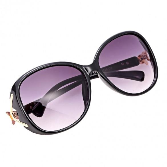Fashion Unisex Oversize Lens Sunglasses Glasses Eyewear Plastic Frame Gold Trim Temple