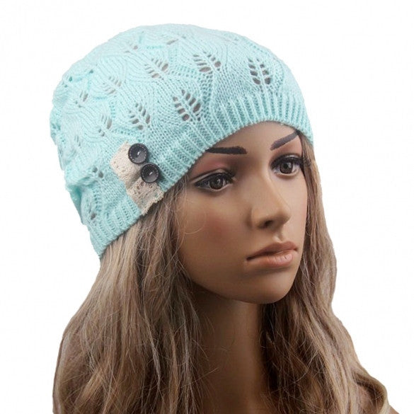 New Stylish Ladies Women Wool Button Lace Patchwork Knitted Warm Hat