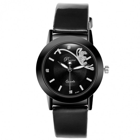 Fashion Classic Women Watch Round Dial Quartz Wristwatch Synthetic Leather Band - May Your Fashion - 2