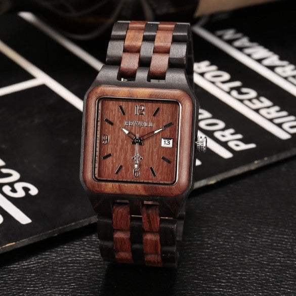 Men's Casual Wood Square Dial Quartz Watch Wristwatch With Auto Date - May Your Fashion - 1