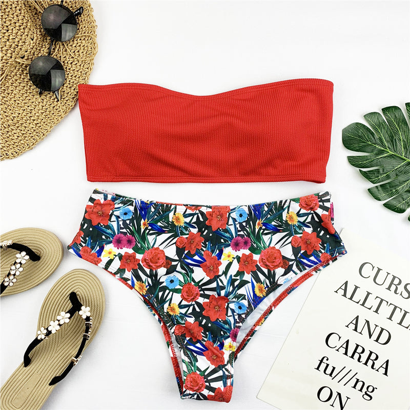 Bandeau Print Low Rise Thong Bottom Bikinis