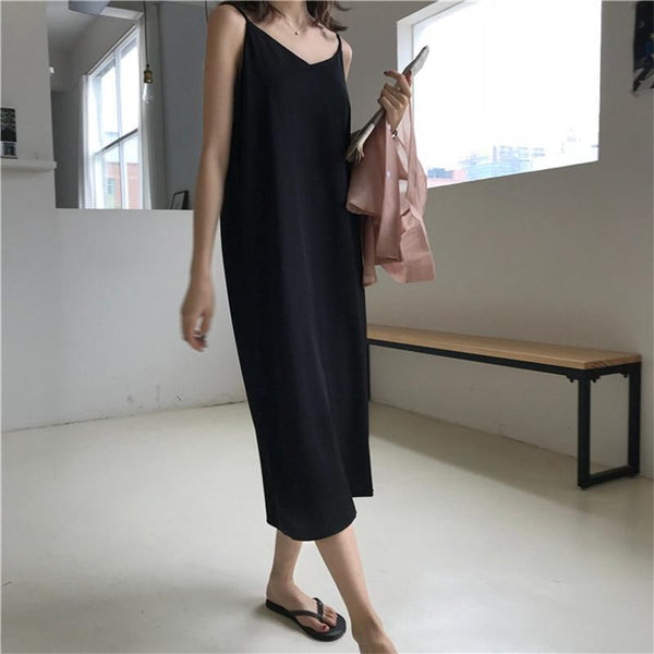 Sexy Women Maxi Dress Loose Sleeveless Dresses V-Neck Sling Long Party Dress