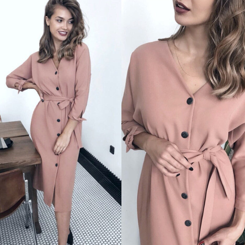 Sexy V Neck Autumn Long Sleeve Women Dress Ladies Sashes Button Casual Office Dress Women Midi Dress Vintage