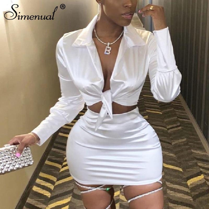 Sexy Fashion Satin Matching Sets Women V Neck Party Hot Silk 3 Piece Outfits Long Sleeve Bandage Crop Top And Skirt Set