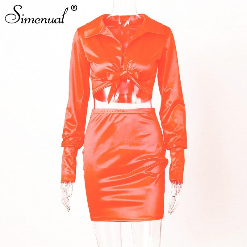 Sexy Fashion Satin Matching Sets Women V Neck Party Hot Silk 5 Piece Outfits Long Sleeve Bandage Crop Top And Skirt Set