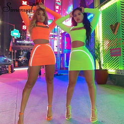 Simenual Sporty Reflective Striped Matching Set Women Cut Out Fashion Fitness 2 Piece Outfit Long Sleeve Crop Top And Skirt Sets