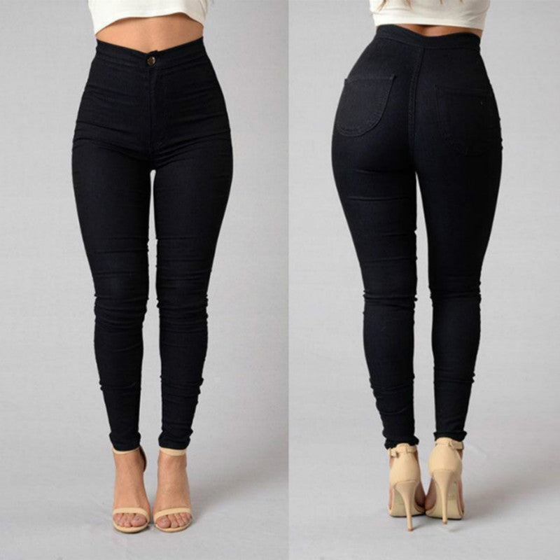 Sexy High Waist Plain Skinny Bodycon Denim Pants