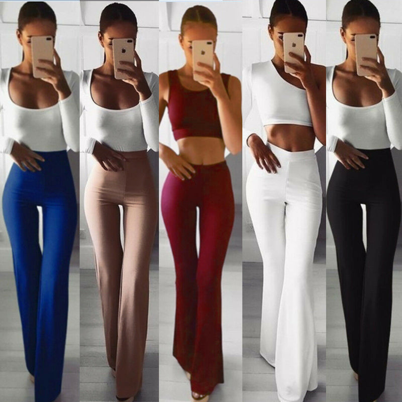 High Waist Plain Flare Pants