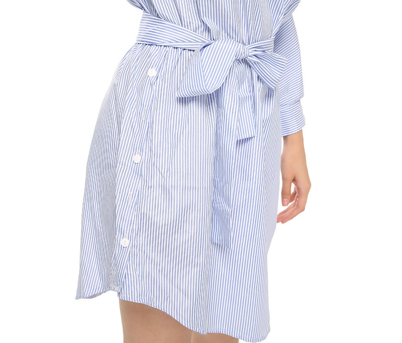 Blue Striped Shirt Short Dress Mini Sexy Side Split Half Sleeve Beach Dresses Plus Size Sundress