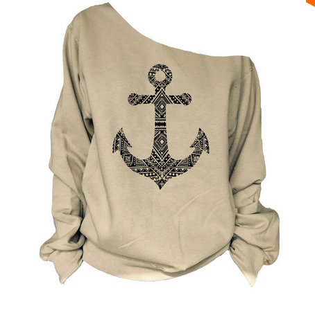 Fashion Anchor Print Skew Neck Sweatshirt T-shirt - May Your Fashion - 2