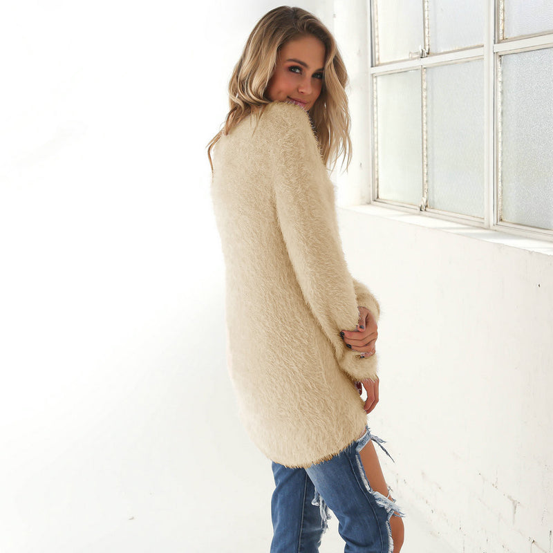 Fashion Knitting Scoop Long Sweater