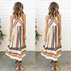 Bear Shoulder Stripe Print Sleeveless Tee Length Dress