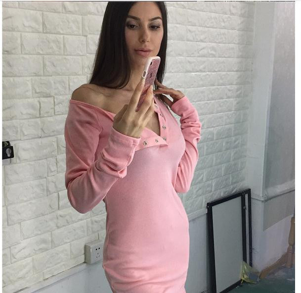 Sexy Scoop Snap Fastener Long Sleeve Bodycon Short Dress