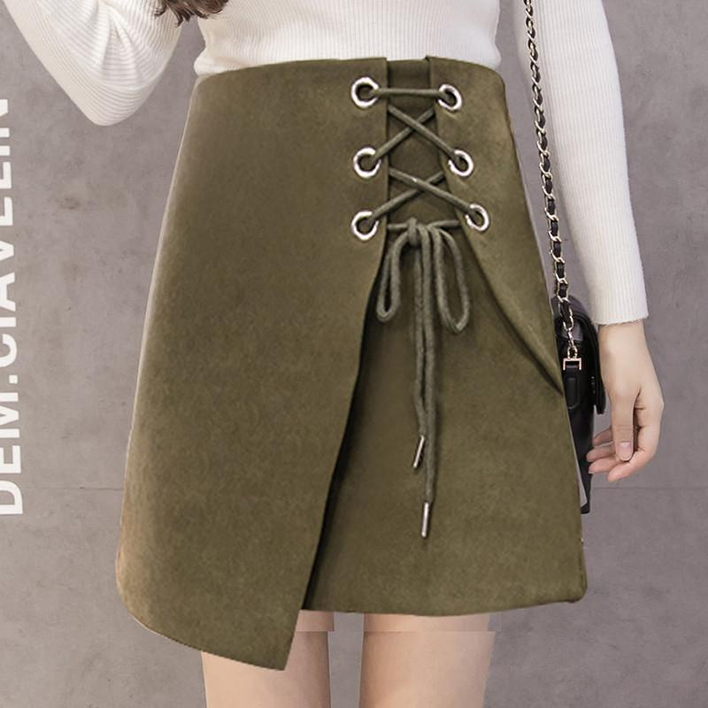 Suede Pure Color Lace Up Irregular A-line Short Skirt