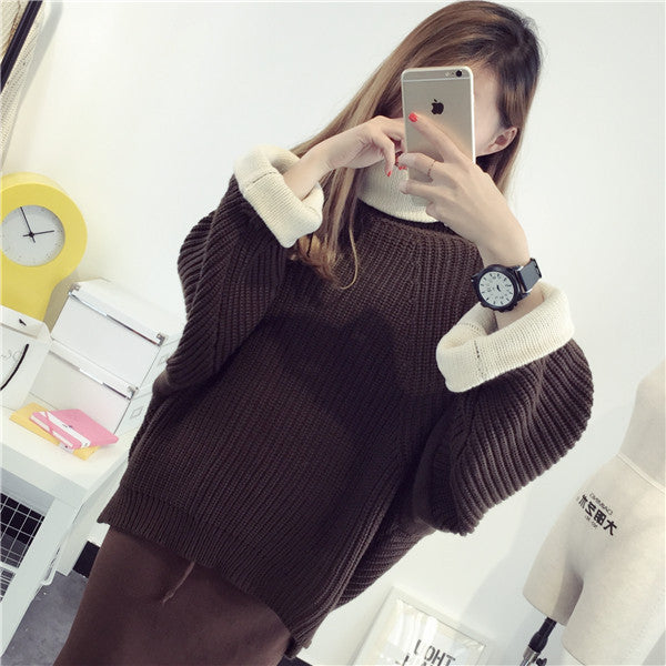 Korean Solid Color Knit Big Pullover Splicing Sweater - May Your Fashion - 2