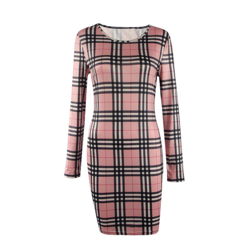 Fashion Plaid Print Long Sleeve Scoop Short Bodycon Dress