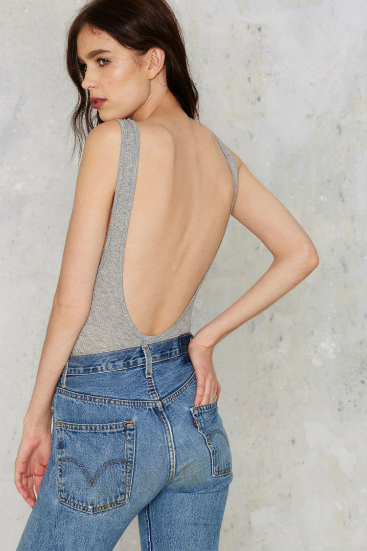 Pure Color Backless Sleeveless Triangle Short Vest Jumpsuit