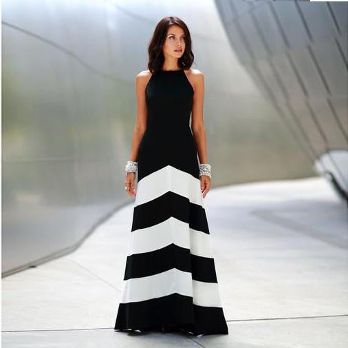 Sexy Stripe Stitching  High Waist Fashion Long Dress