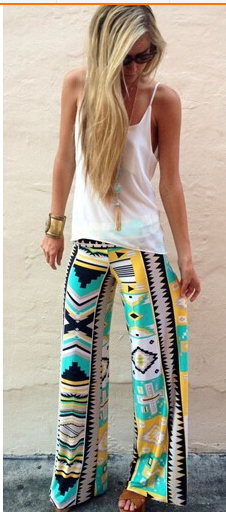 Bohemian Style Print Wide Leg Regular Pants