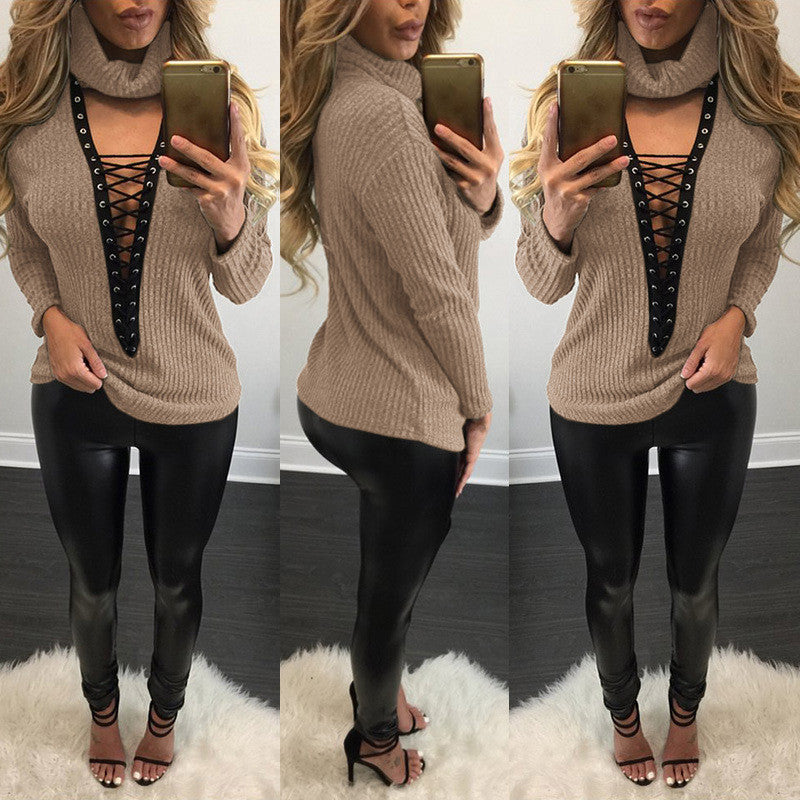 Sexy V Lace Up Turtleneck Sweater