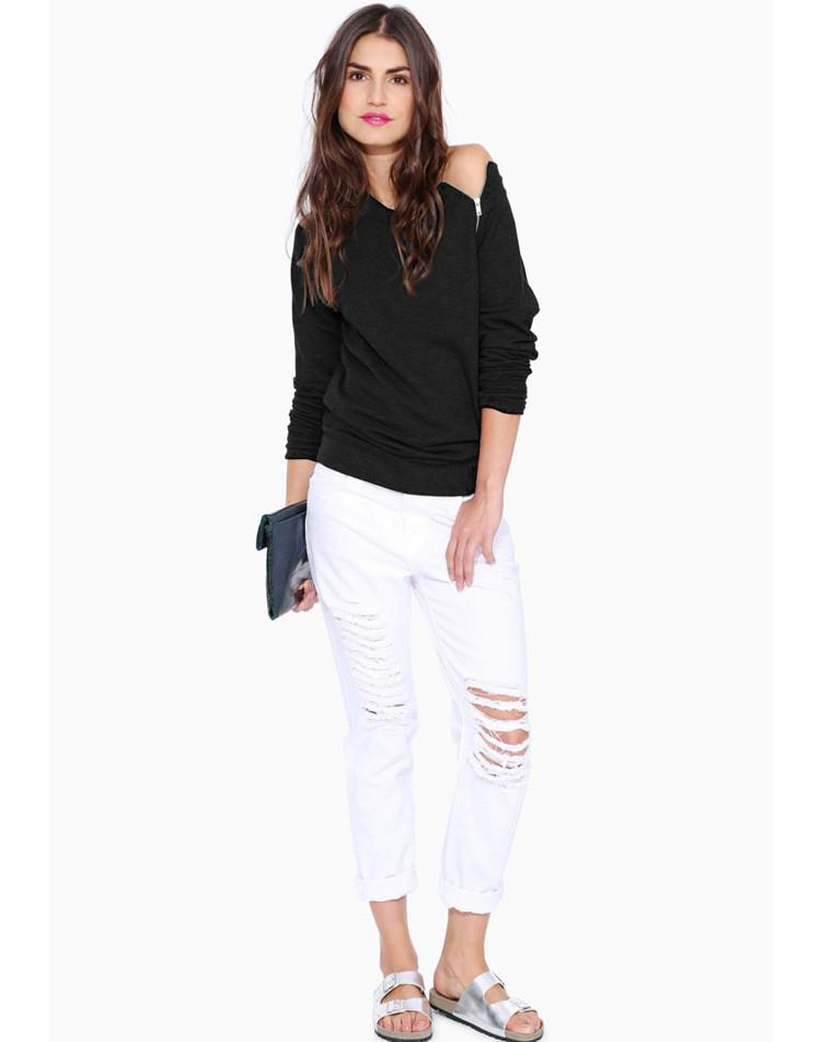 Women Fashion Zipper Long Sleeves T-shirt