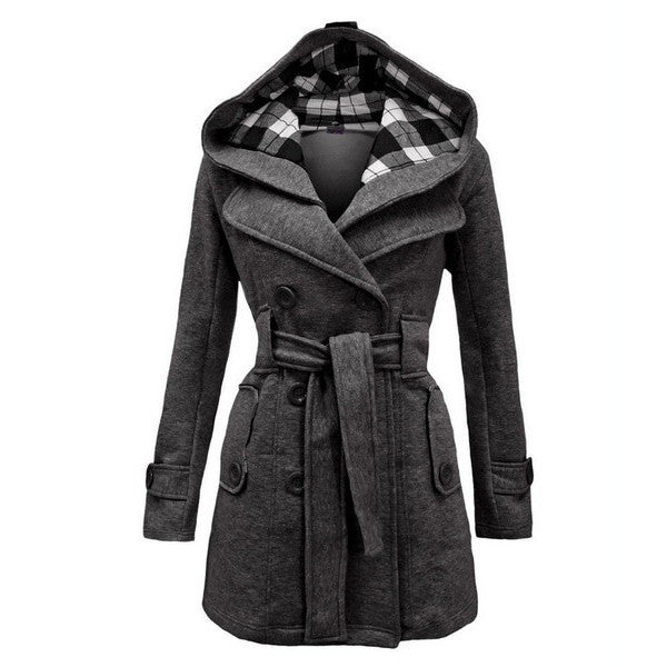 Plus Size Double Breasted Long with Belt Hooded Coat - May Your Fashion - 1
