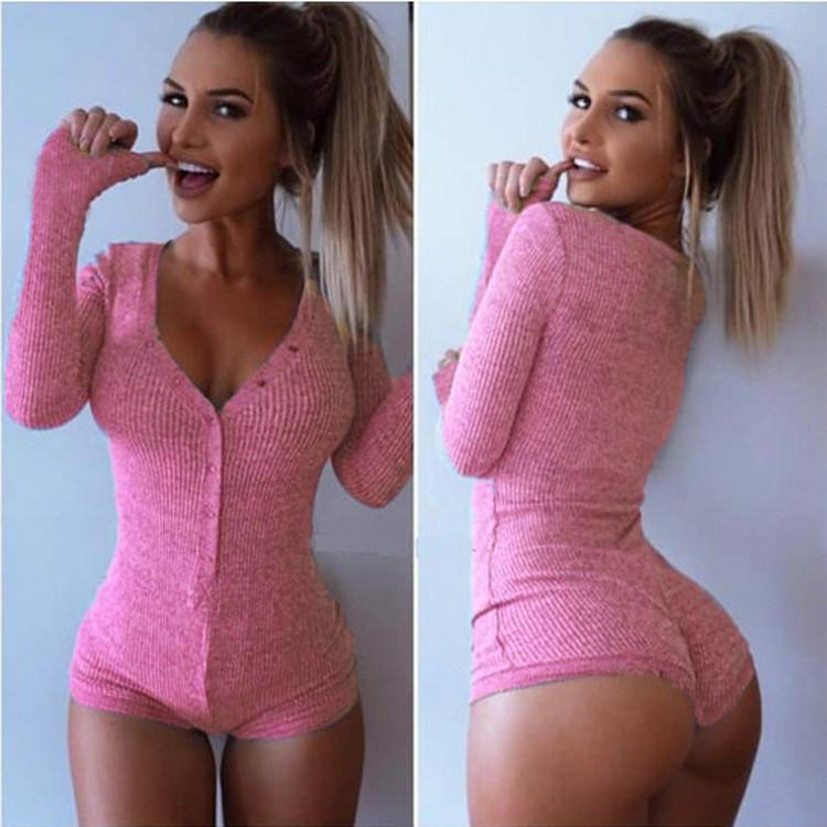 Deep V-neck Long Sleeves Bodycon Sheath Short Jumpsuit - Meet Yours Fashion - 7