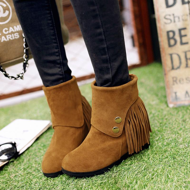 Korean Style Fringed Increased Short Boots Shoes