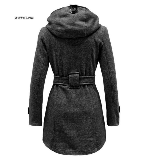 Plus Size Double Breasted Long with Belt Hooded Coat - May Your Fashion - 2