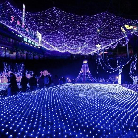 Blue 100 LED Net Mesh Fairy Lights Twinkle Lighting Christmas Wedding Party US/110V