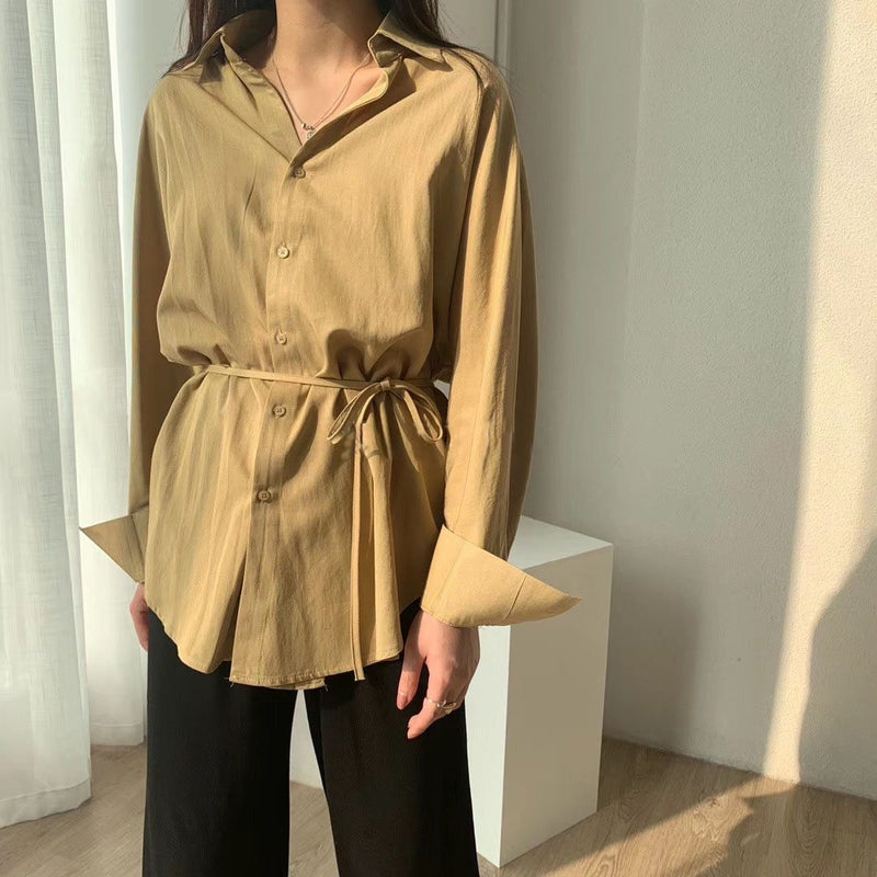 Linen Tops Blouses Korean Long Sleeve Khaki Shirts Drawstring Waist Oversized Tops