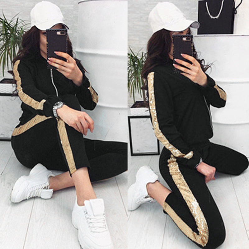 Tracksuit Women 2 Piece Set Tops Pant Clothing Breathable Ladies Stripted 2pcs Sports Suits