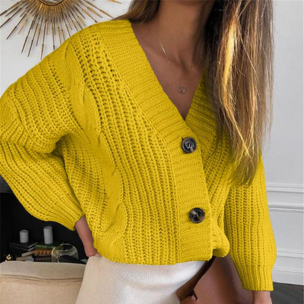 Knit Sweater Women Autumn Casual Long Sleeve Button Cardigan Knitted Sweaters Coat Femme Winter Warm Clothes