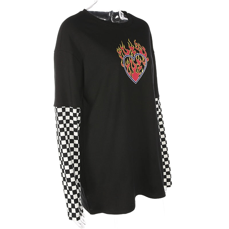 Women Plaid Patchwork Long Sleeve Flaming Heart Print Sweatshirt Autumn Winter Black Checkboard Pullover Hoodies