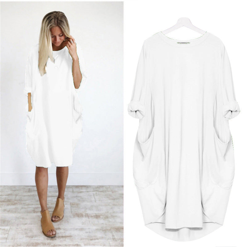 Women Casual Loose Dress With Pocket Ladies Fashion O Neck Long Tops Female T Shirt Dress Streetwear