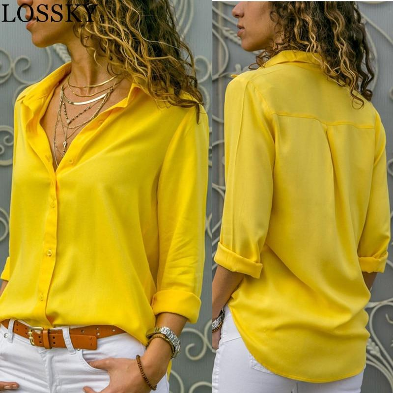Women Basic Selling Button Solid Summer Long Sleeve Shirt Female Chiffon Women's Slim Clothing Plus Size Tops