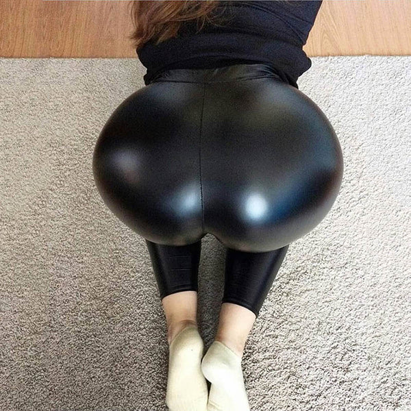 Sexy Black High Waist See Leather Skinny Leggings Pants